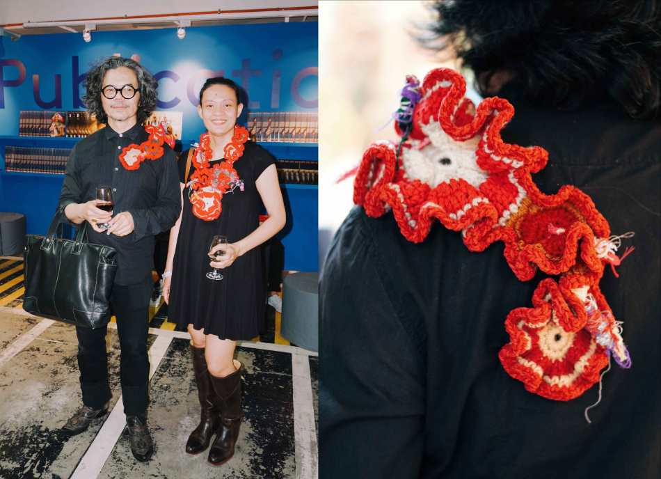 Artists Ged Merino and Aze Ong clad in their own crochet work. They are also exhibiting their fabric art at a larger-scale, on view at the Link carpark's 7th floor till Sunday.