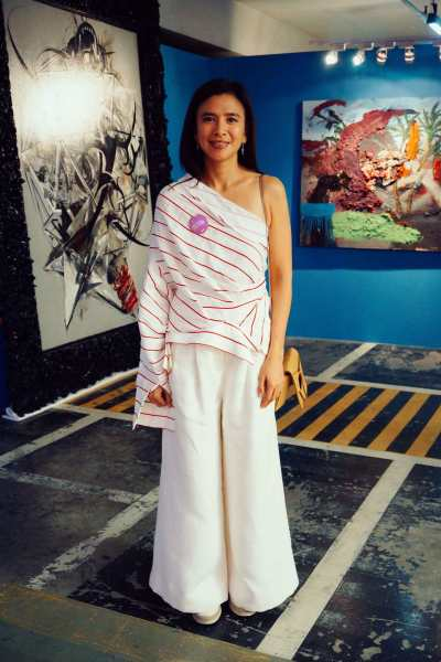 Trickie Lopa, one-third of the founders of Art Fair Philippines, plays with asymmetry.