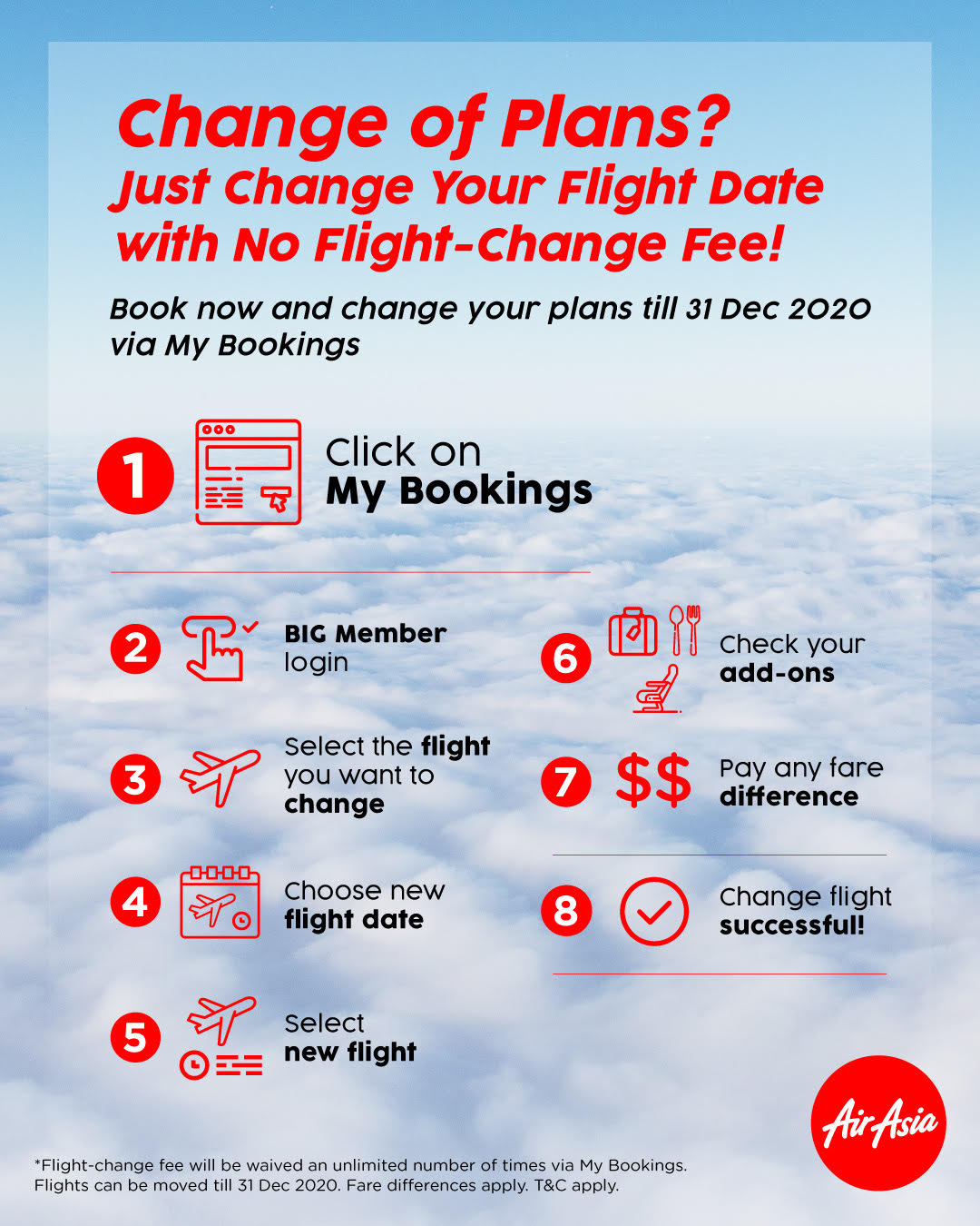 Enhanced flexibility for AirAsia guests travelling up to 31 Dec 2020 with flight change fee waiver